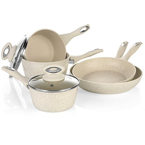 Salter 8 Piece Induction Non Stick Marble Coated Pan Set