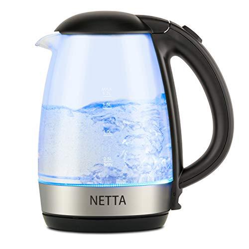 Netta 1 7l Fast Boil Electric Glass Kettle 2200w Blue